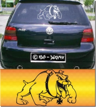 hund hundfreunde bulldoge bad dog autoaufkleber auto aufkleber. Black Bedroom Furniture Sets. Home Design Ideas