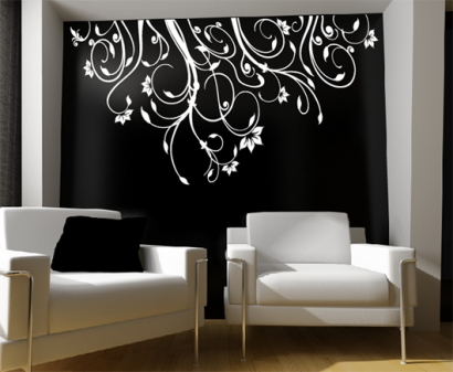blumenranke blumen ranke wandtattoo wandtattoos wand aufkleber. Black Bedroom Furniture Sets. Home Design Ideas