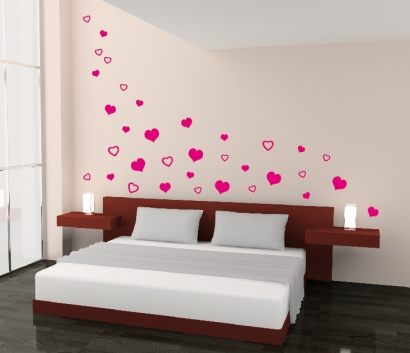 herzen herz schlafzimmer liebe wandtattoo wand aufkleber. Black Bedroom Furniture Sets. Home Design Ideas
