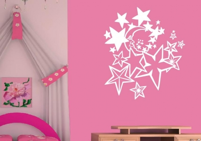 wandtattoo kinderzimmer wandtattoos mond und sterne wandsticker. Black Bedroom Furniture Sets. Home Design Ideas