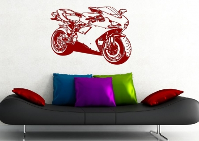 motorrad maschine aufkleber wandtattoo wandtattoos. Black Bedroom Furniture Sets. Home Design Ideas