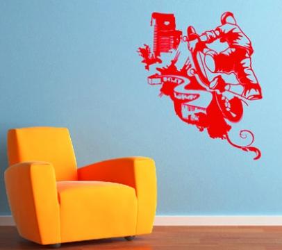 skater wandtattoo aufkleber skate board wand dekoration. Black Bedroom Furniture Sets. Home Design Ideas