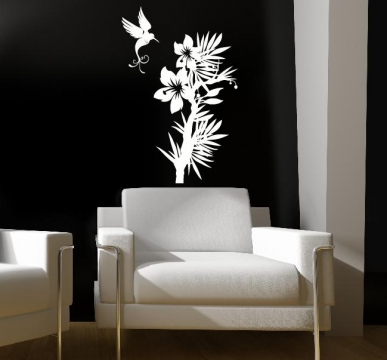 vogel blumen aufkleber wandtattoo wandtattoos wandaufkleber. Black Bedroom Furniture Sets. Home Design Ideas