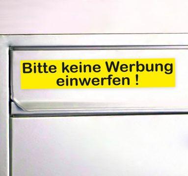 bitte keine werbung aufkleber f r den briefkasten keine reklame sticker gelb. Black Bedroom Furniture Sets. Home Design Ideas