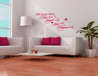 wohnung gestalten mit wandaufkleber spruch wandtattoos. Black Bedroom Furniture Sets. Home Design Ideas