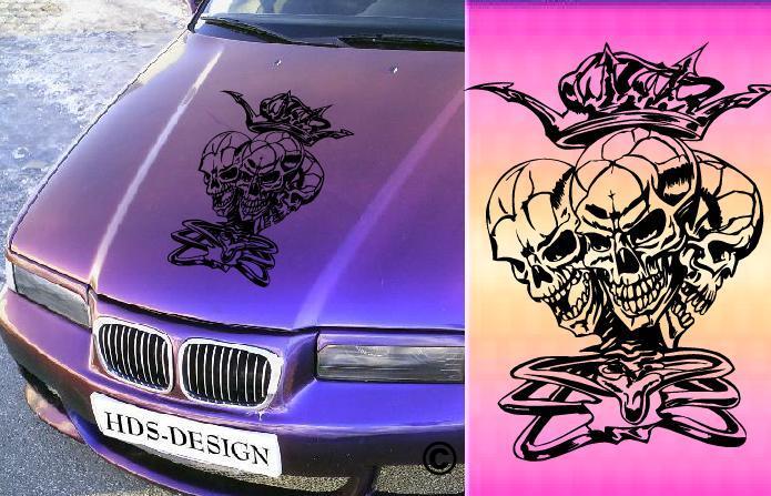 Totenkopf Skull Motorhauben Sticker
