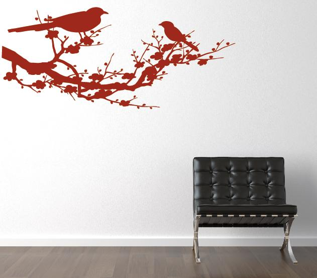 blumenranke sch nes ast wand mit v gel wandtattoo. Black Bedroom Furniture Sets. Home Design Ideas