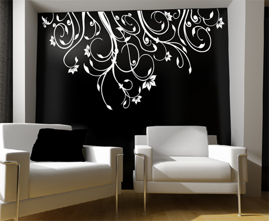 wandtattoo wohnzimmer blumen raum und m beldesign. Black Bedroom Furniture Sets. Home Design Ideas