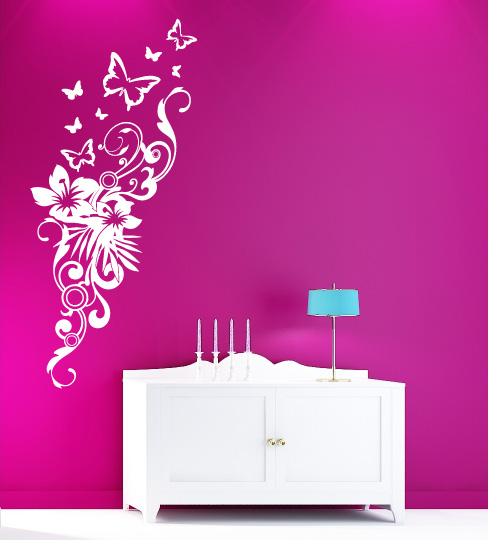 blumen schmetterling wandtattoos wanddeko wand dekoartion. Black Bedroom Furniture Sets. Home Design Ideas