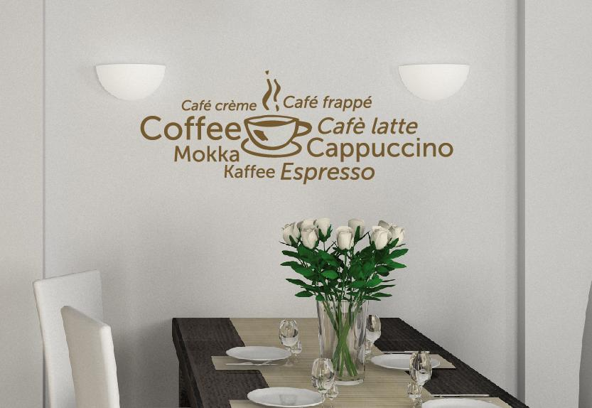 kaffee wandtattoo cafe wandsticker f r die k che bar kaffee esszimmer. Black Bedroom Furniture Sets. Home Design Ideas