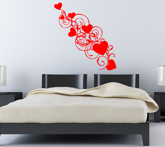 Herzen Wandtattoos und Schlafzimmer Ranken Wandsticker