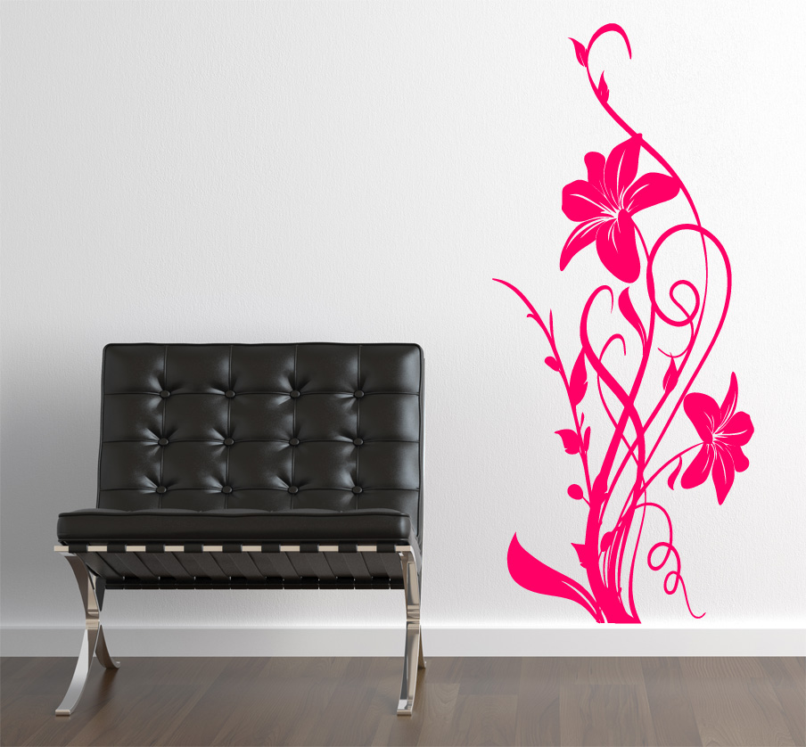 blumen aufkleber hibiskus wandtattoo wandtattoos wandaufkleber. Black Bedroom Furniture Sets. Home Design Ideas