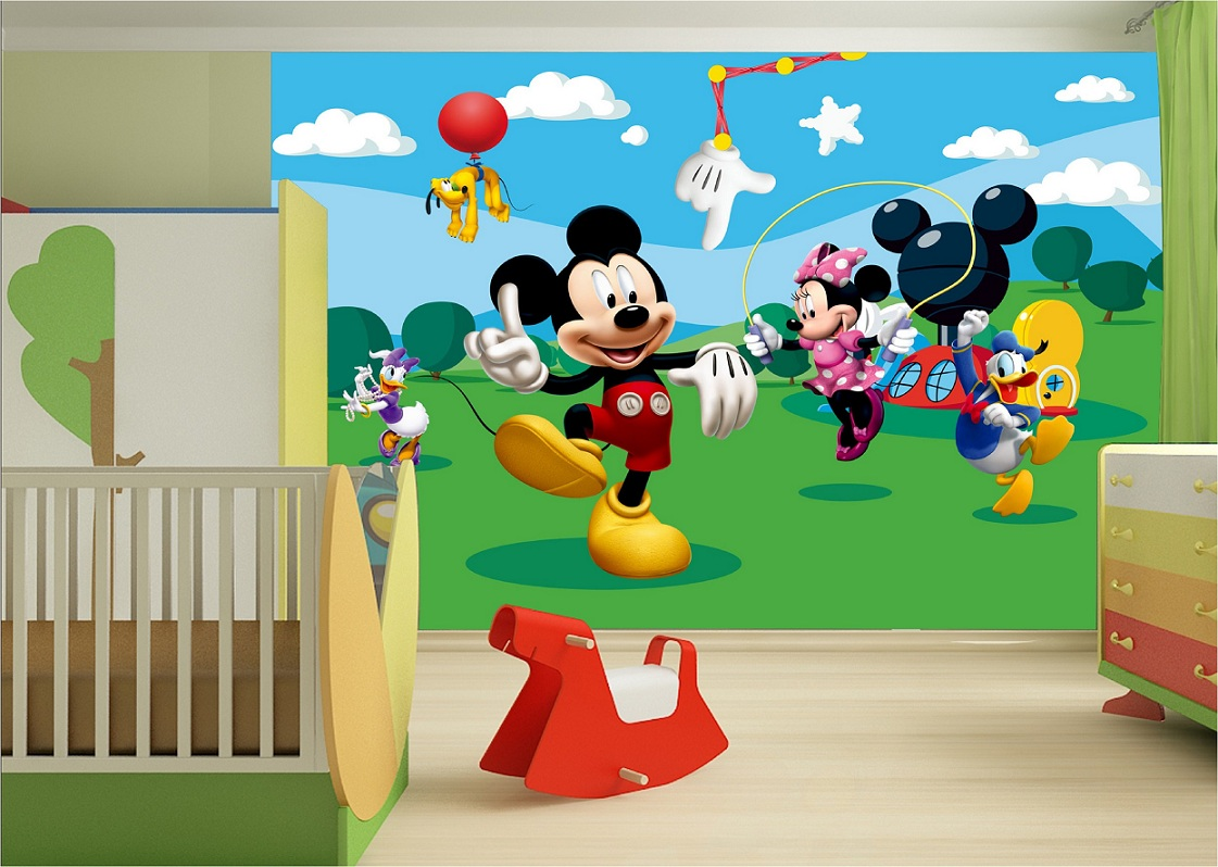 kinderzimmer fototapeten mit disney micky maus tapeten g nstige wandbilder. Black Bedroom Furniture Sets. Home Design Ideas
