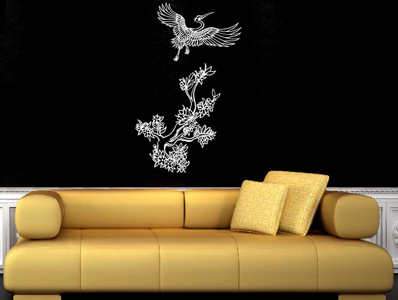 wandtattoo vogel mit blumen wandtattoos wandaufkleber kranich. Black Bedroom Furniture Sets. Home Design Ideas