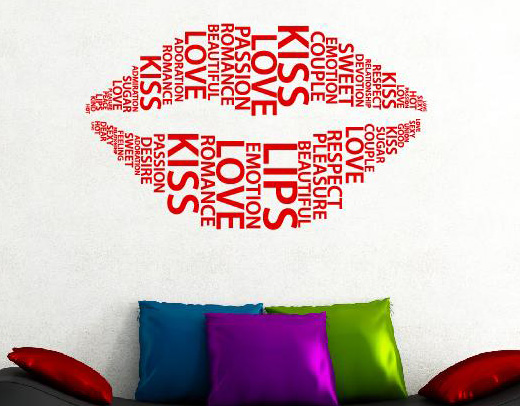 wandtattoo wandtattoos lippen liebe love w rter wandaufkleber. Black Bedroom Furniture Sets. Home Design Ideas