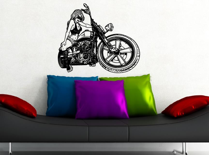 Motorrad girl aufkleber wandtattoo wandtattoos wandaufkleber - Motorrad wandtattoo ...