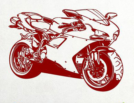 Motorrad maschine aufkleber wandtattoo wandtattoos wandaufkleber - Motorrad wandtattoo ...