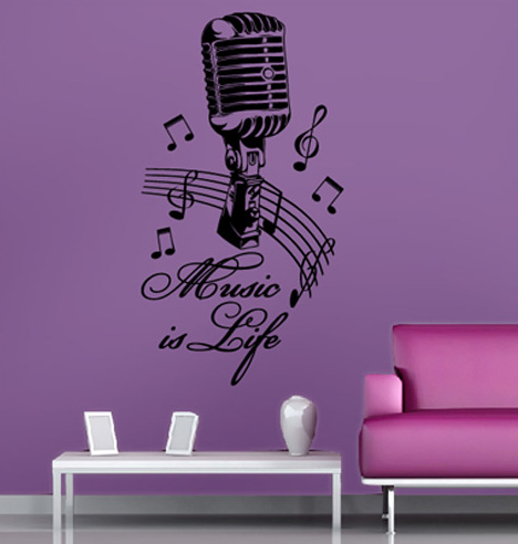 tolles musik wandtattoo wohnzimmer dekoration aufkleber wandsticker. Black Bedroom Furniture Sets. Home Design Ideas
