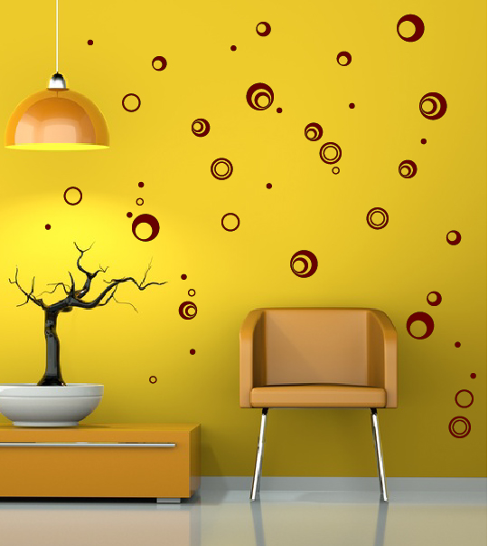 wanddekoration retro kreise ringe aufkleber set bestellen. Black Bedroom Furniture Sets. Home Design Ideas