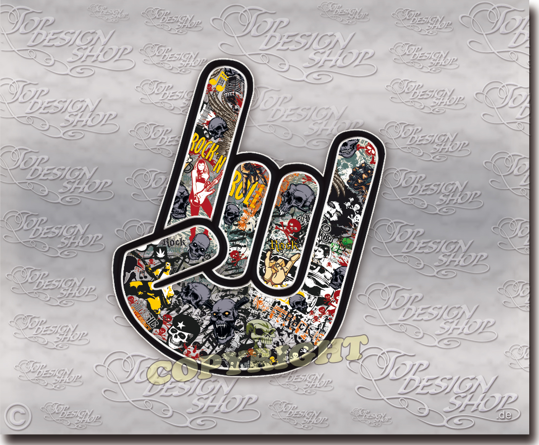 Rock Hand Stickerbomb Aufkleber Coole Rocker Tuning Sticker