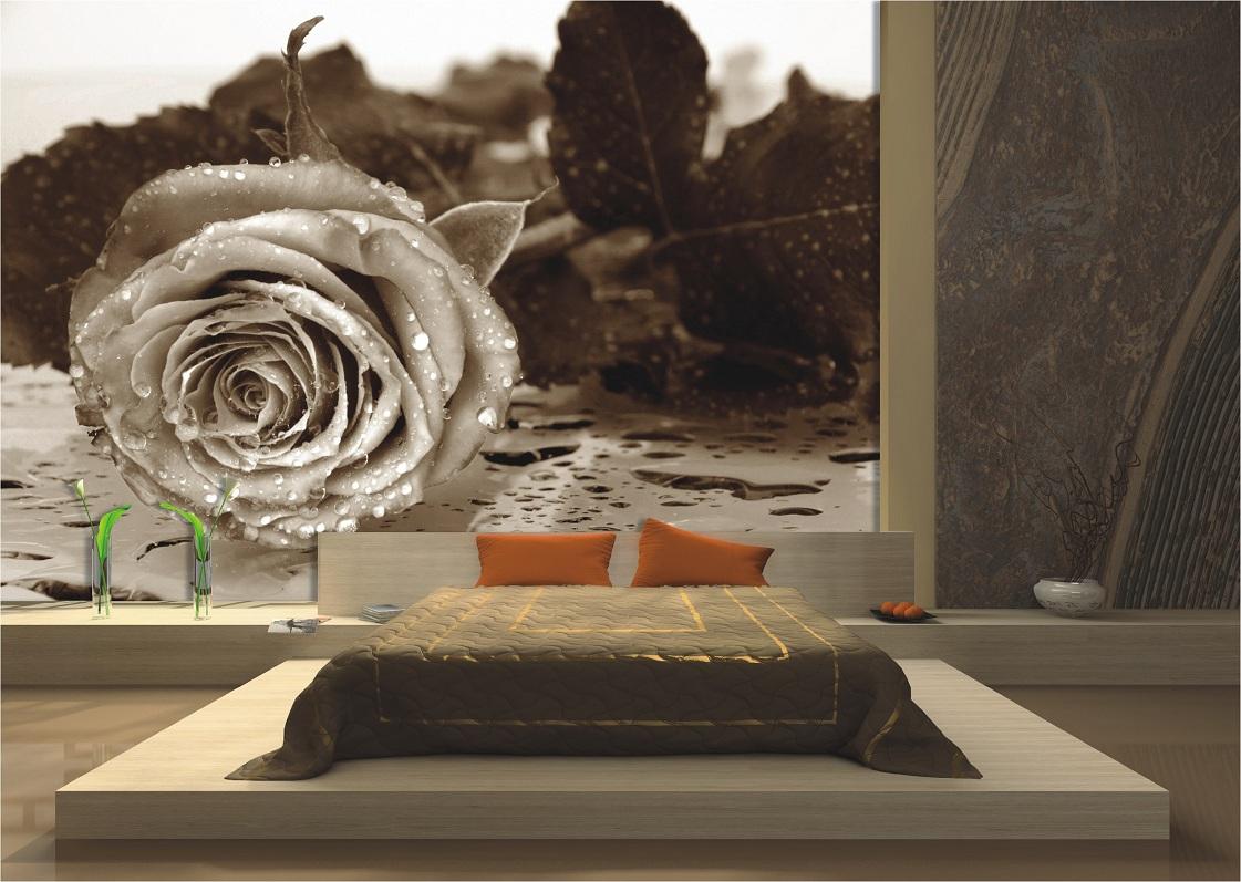 Wanddekoration moderne Schlafzimmer Fototapeten und schöne Blumen ...