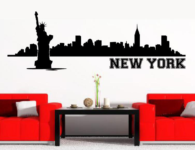wandtattoo wandtattoos skyline new york ny wandaufkleber. Black Bedroom Furniture Sets. Home Design Ideas