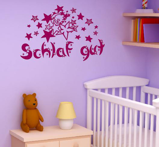 schlaf gut wandtattoo sterne mond kinderzimmer aufkleber shop. Black Bedroom Furniture Sets. Home Design Ideas