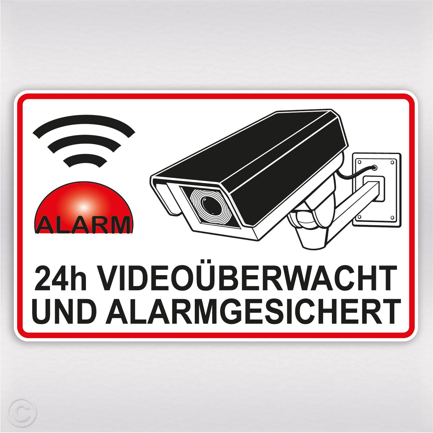 Videouberwachung Aufkleber Alarmgesichert Mit Kamera Und 24h Hinweis