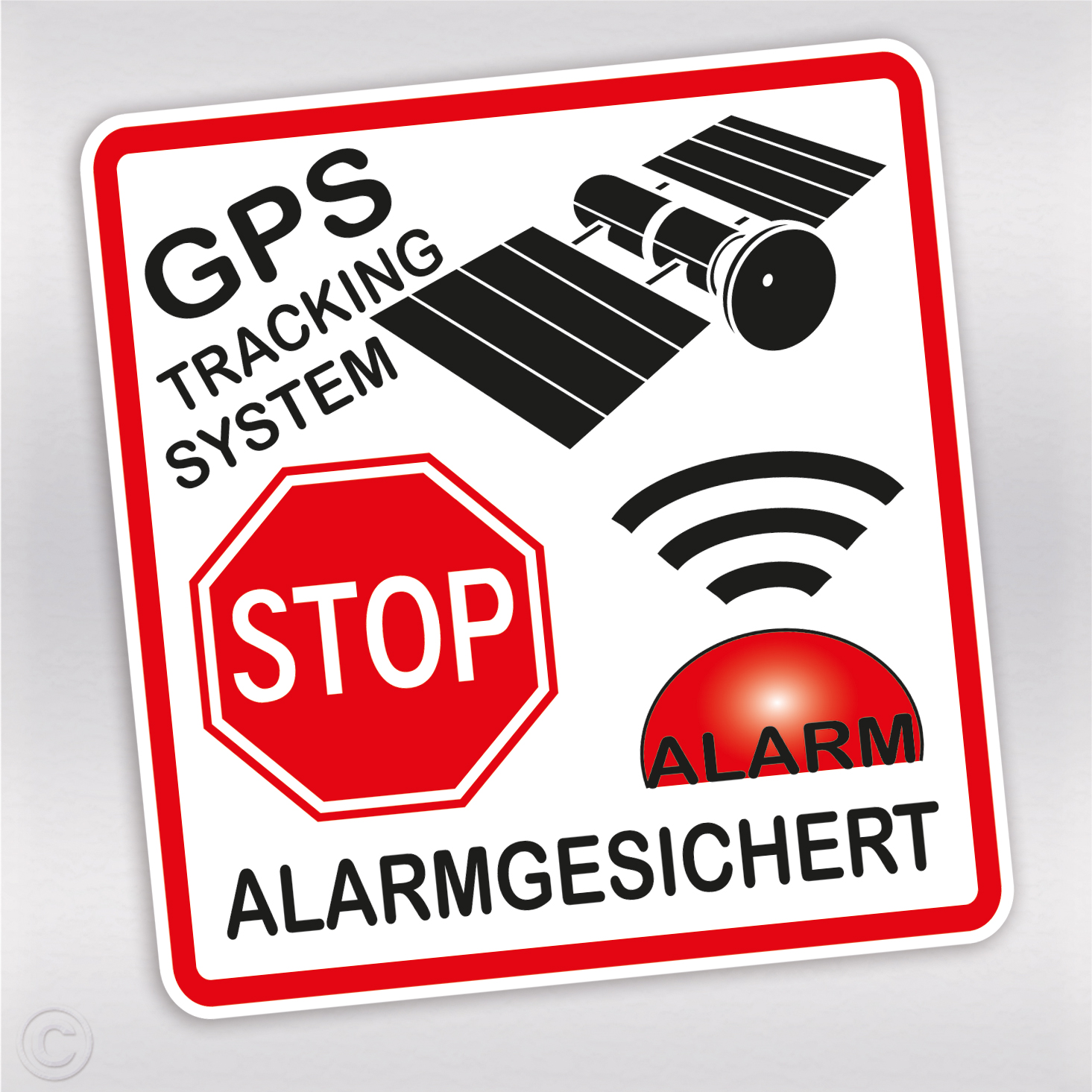 aufkleber alarmanlage mit gps tracking und stop schild f r auto. Black Bedroom Furniture Sets. Home Design Ideas