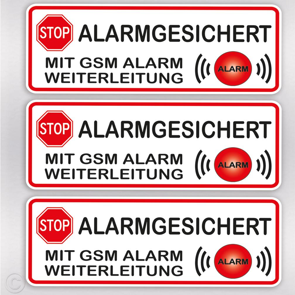 3 x STOP ALARM Aufkleber Alarmgesichert Alarmaufkleber Alarmanlage