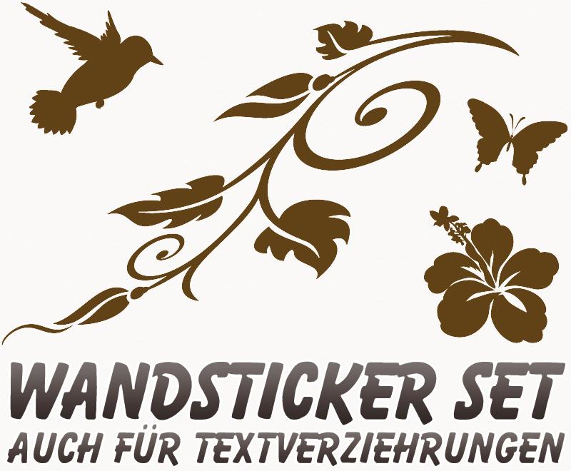 Wandtattoos Im Gunstigen Set Schmetterling Vogel Ast Und Blume