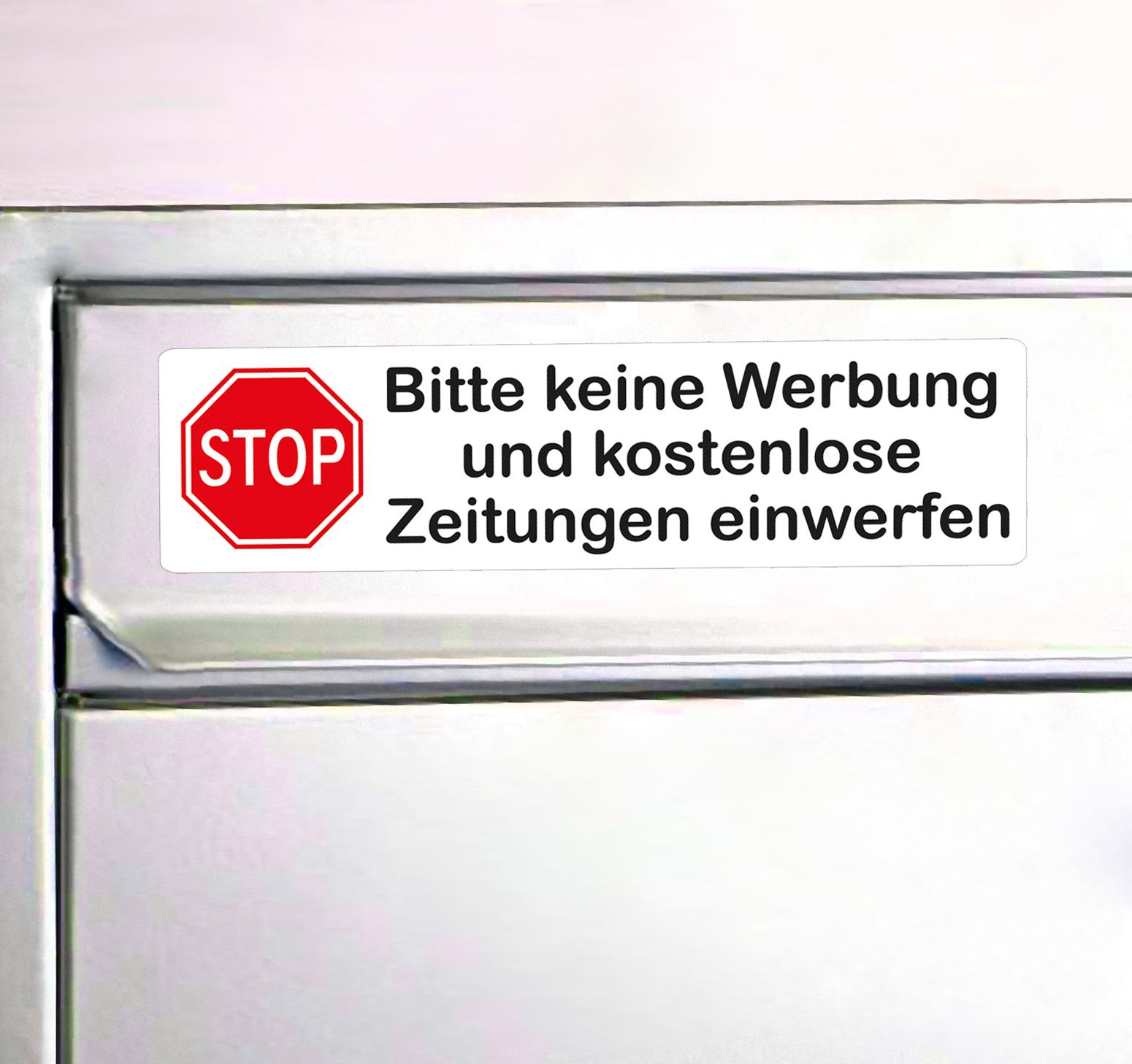 Aufkleber Keine Werbung Mit Stop Schild In Rot Briefkasten