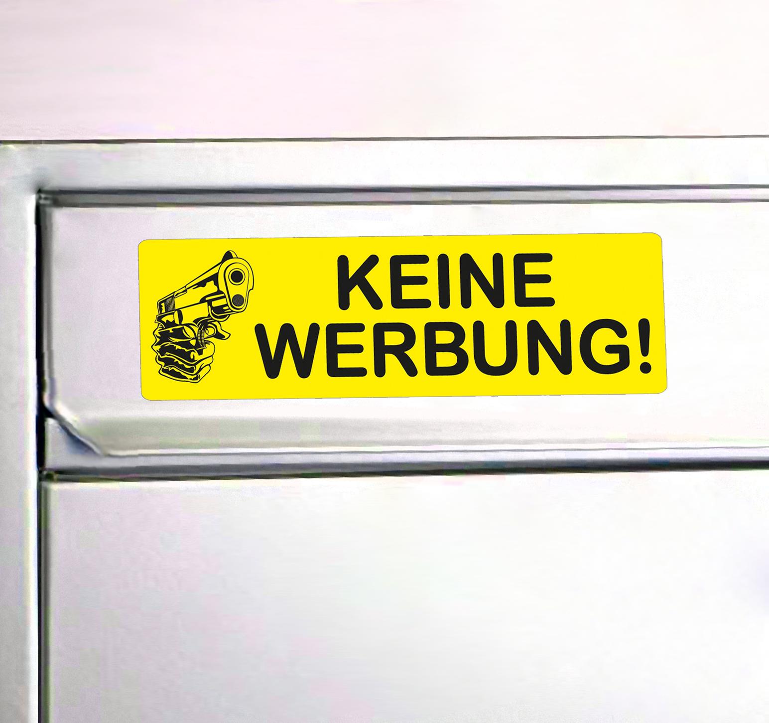 Fun Aufkleber Mit Pistole Keine Werbung Briefkasten Tür