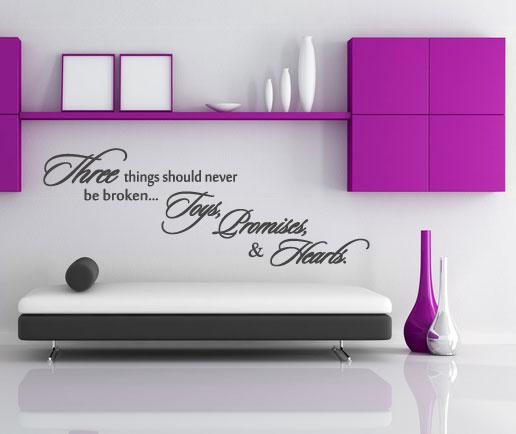 wandaufkleber wandspruch in englisch wandsticker spruch three things. Black Bedroom Furniture Sets. Home Design Ideas