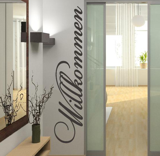 willkommen vorraum wohnzimmer wandtattoo wandtattoos wand aufkleber. Black Bedroom Furniture Sets. Home Design Ideas