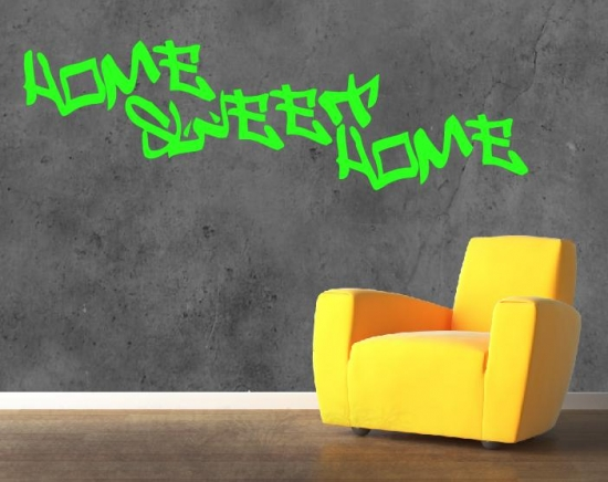 graffiti style home sweet home wandtattoo jugendzimmer coole wandtatttoos ebay. Black Bedroom Furniture Sets. Home Design Ideas
