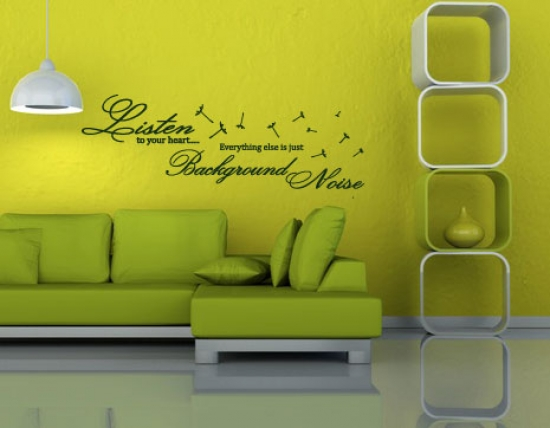 sch ner liebes wandtattoo spruch in englisch listen to your heart wandsticker ebay. Black Bedroom Furniture Sets. Home Design Ideas