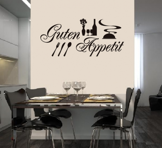wandtattoo k chen aufkleber guten appetit wandsticker f r die k che esszimme ebay. Black Bedroom Furniture Sets. Home Design Ideas