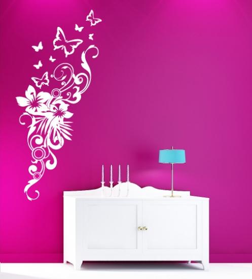 Schlafzimmer Mit Vielen Pflanzen: Wandtattoo Schmetterlinge Blumen Pflanzen- Wohnzimmer
