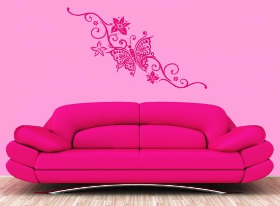 wandtattoo schmetterlinge blumenranke wohnzimmer deko wandsticker ebay. Black Bedroom Furniture Sets. Home Design Ideas