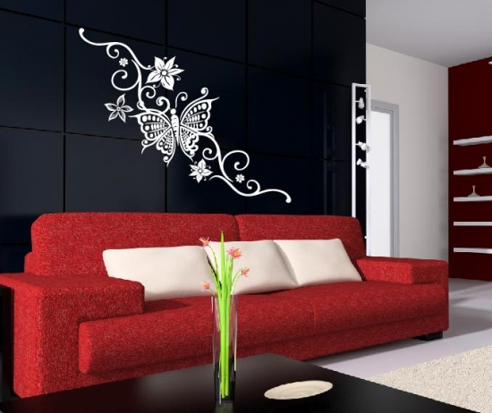 wandtattoo schmetterlinge blumenranke wohnzimmer deko wandsticker schmetterling ebay. Black Bedroom Furniture Sets. Home Design Ideas