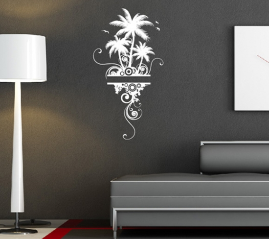 wandtattoo palmen insel blumen wohnzimmer schlafzimmer dekoration ebay. Black Bedroom Furniture Sets. Home Design Ideas