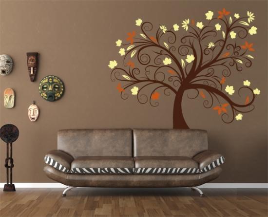 Wandtattoo Wohnzimmer Baum : Wandtattoo 3 farbig - Baumranke ...