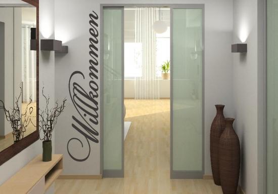 wandtattoo willkommen wandspruch eingang flur diele t re vorraum aufkleber ebay. Black Bedroom Furniture Sets. Home Design Ideas