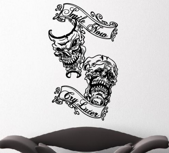 Skull wandsticker smile now cry later totenkopf wandtattoo aufkleber cool ebay - Coole wanddesigns ...