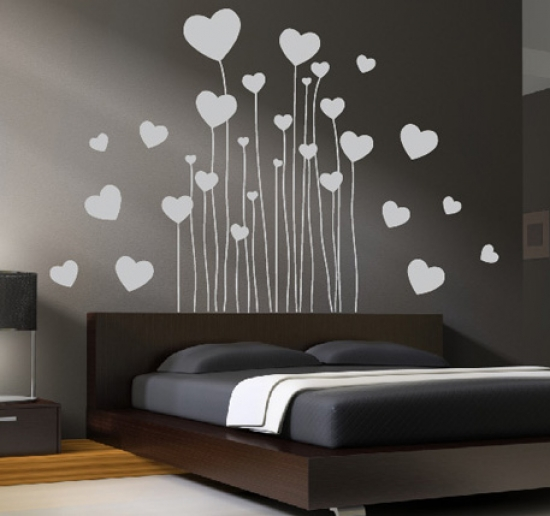 wand tattoo aufkleber herz schlafzimmer dekoration liebe herzen wandtattoo ebay. Black Bedroom Furniture Sets. Home Design Ideas