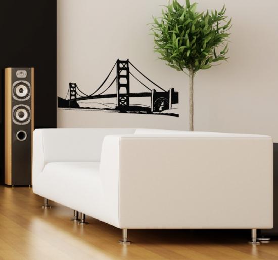 Wandaufkleber br cke golden gate bridge wandtattoo for Dekoration wohnzimmer ebay