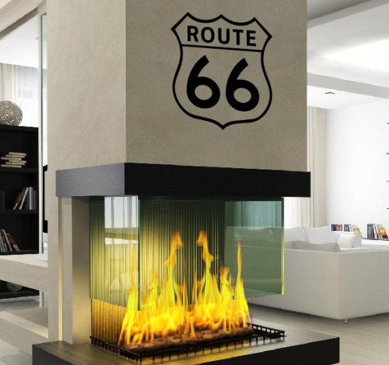 usa route 66 wandtattoo biker wandaufkleber deco wall tattoo selbstklebend ebay. Black Bedroom Furniture Sets. Home Design Ideas