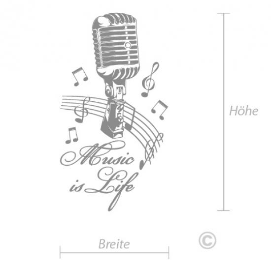 Wandtattoo Musik Design Music Is Life Wohnzimmer