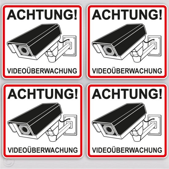 aufkleber video berwachung achtung kamera warnhinweis. Black Bedroom Furniture Sets. Home Design Ideas